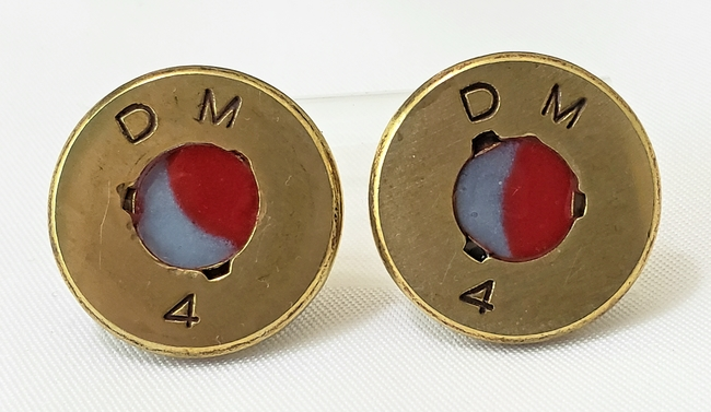 Machine gun bullet slice earring studs 50 caliber