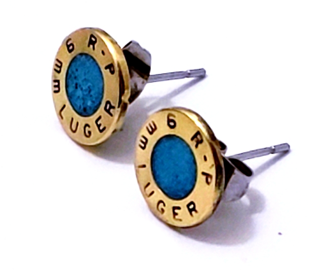 9mm luger  turquoise inlay earrings stainless steel studs