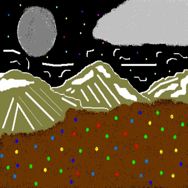 Dark Mountains Abstract Art Cartoon By Cheyene M. Lopez