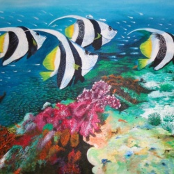 Fishes and Coral Reefs- Original acrylic painting