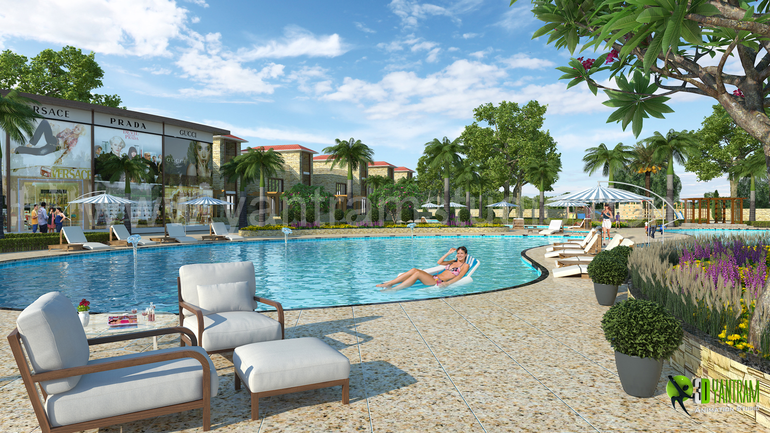 3D Exterior Rendering Resort And Swimming Pool