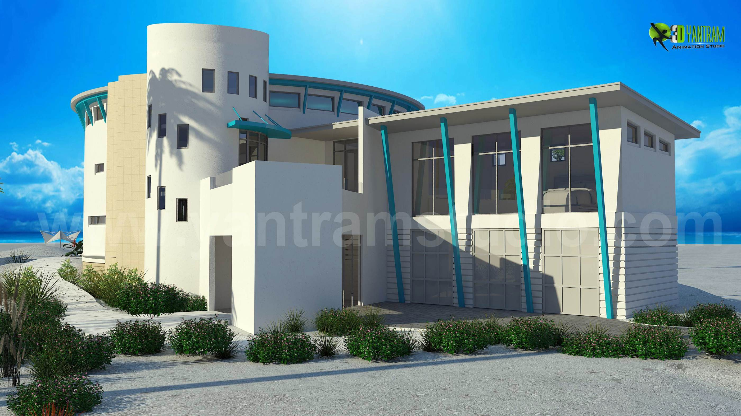 3d Luxurious Home Exterior Design Rendering Yantramstudio