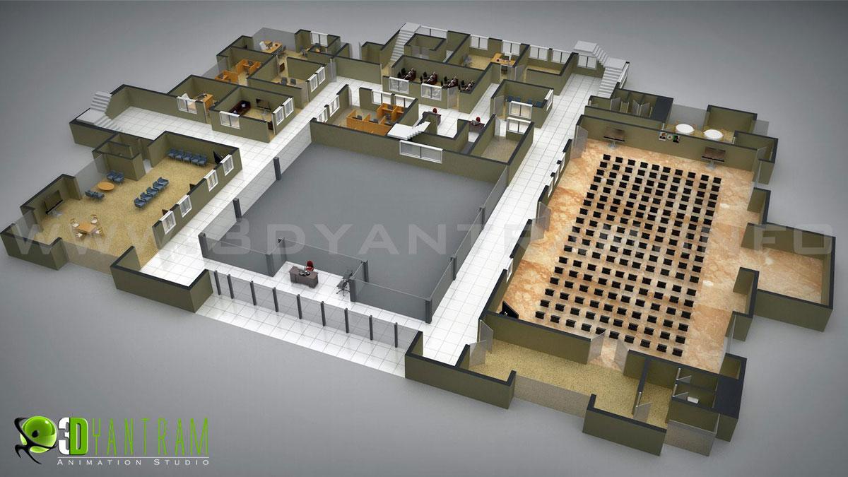 Commercial 3D Floor Plan yantramstudio Foundmyself