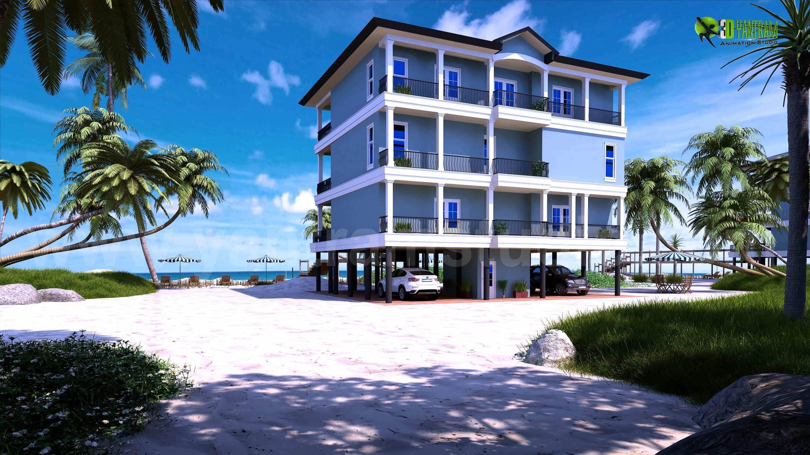 beach house exterior design rendering animation yantramstudio rh foundmyself com House Plan Rendering Beach House Lighting