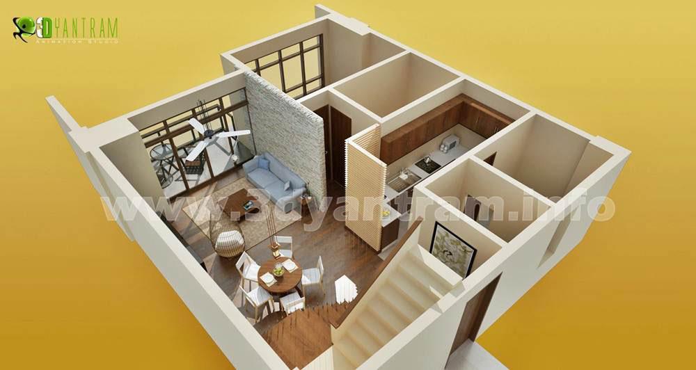 Small Room 3D Floor Plan Design
