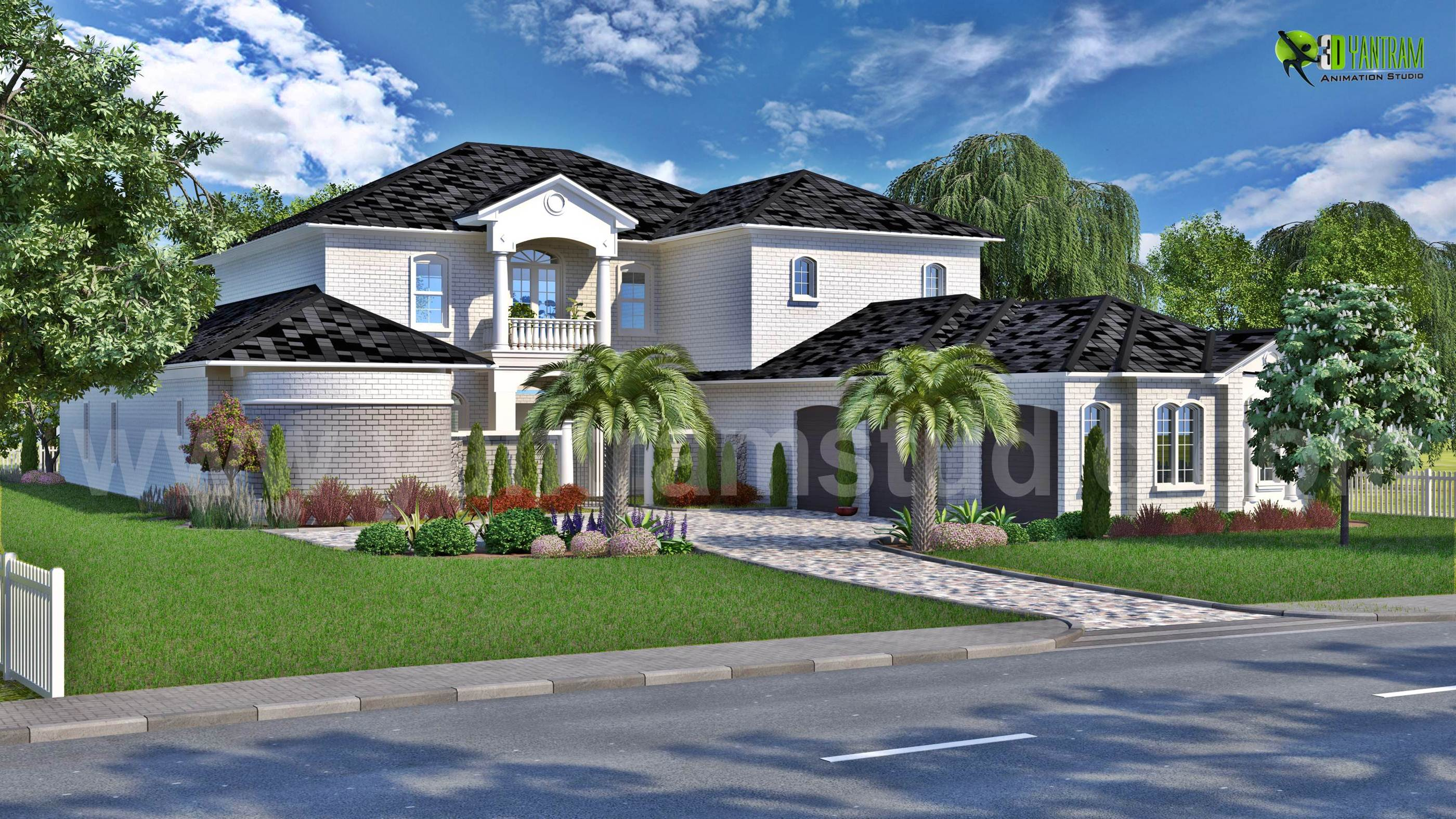 Modern bungalow 3d exterior design with landscape for Exterior design of bungalows