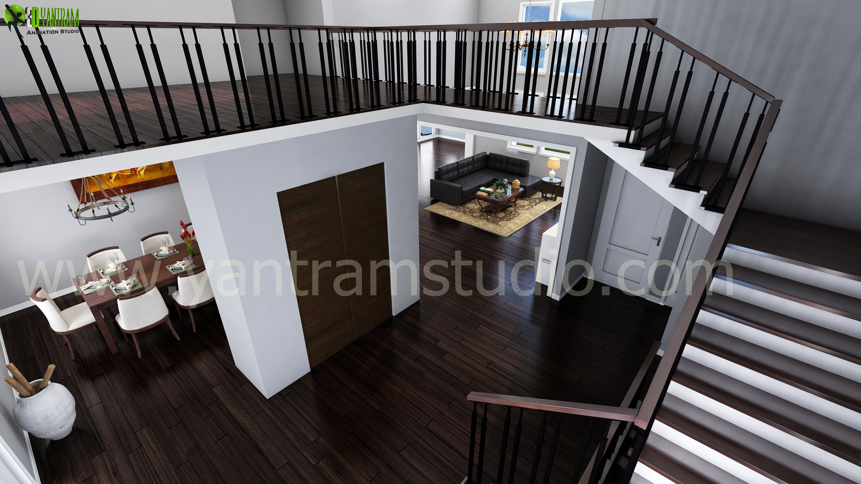 Living Room Design With Stairs: Living Room Interior Stairs Design View