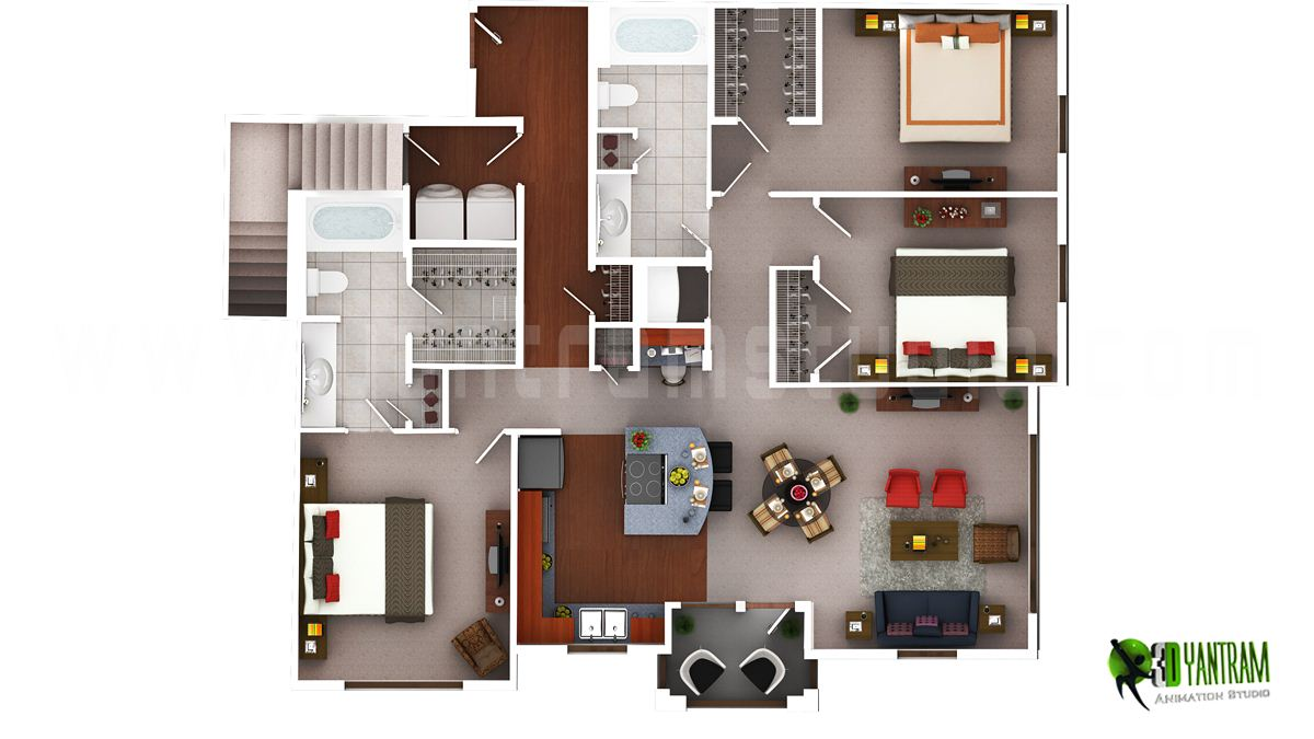 3D Luxury Floor Plans Design For Residential