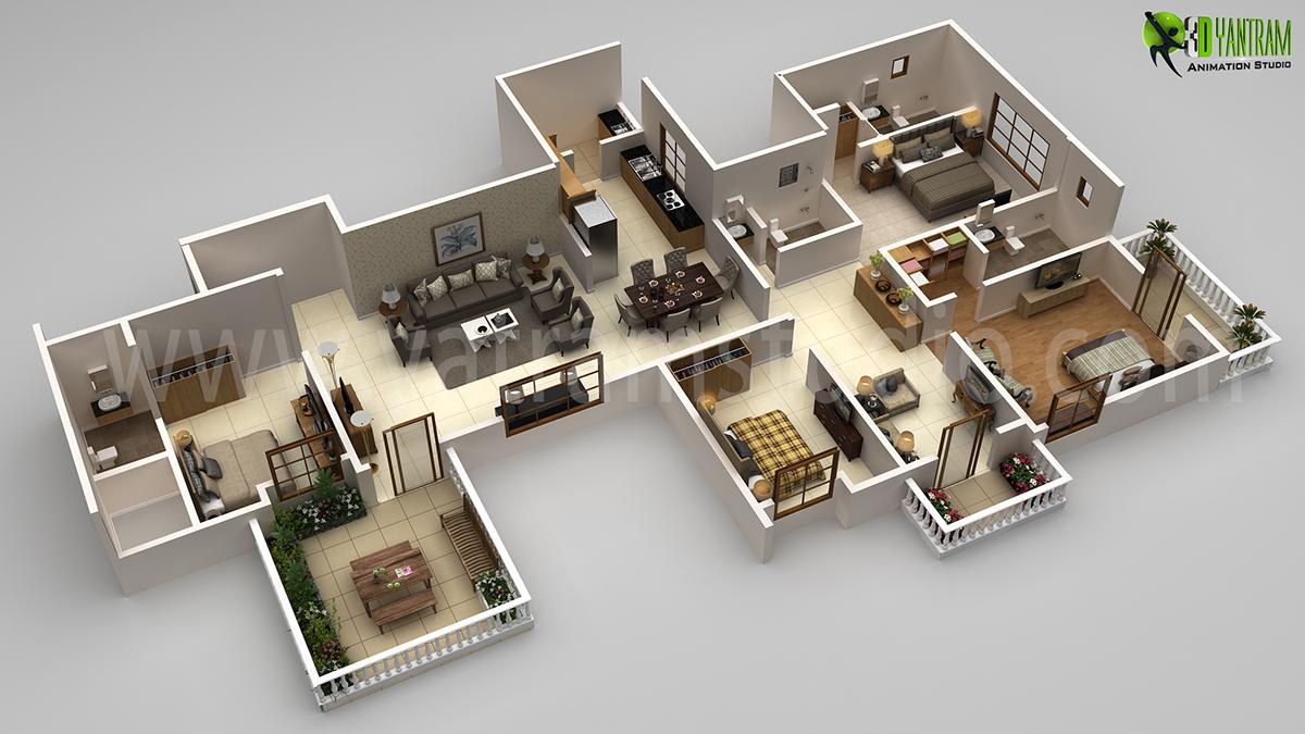 Residential 4bhk Floor Plan Design Rendering