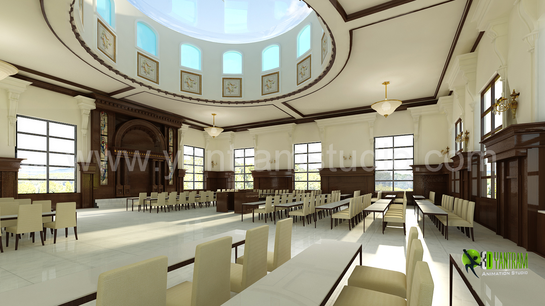 3D Interior Design Rendering For Community Hall