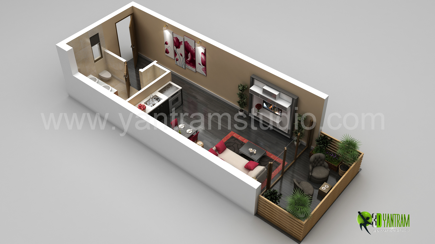 3d Small Home Floor Plan Rendering Yantramstudio