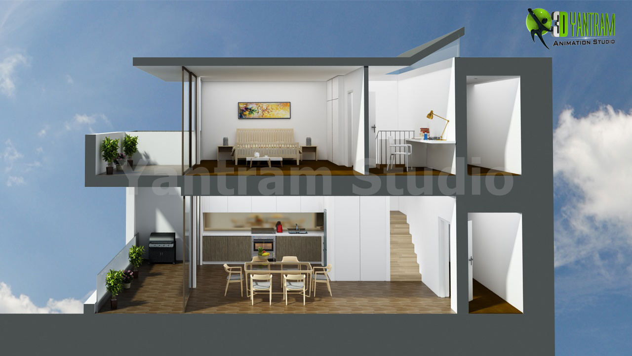 3D Section View Floor Plan