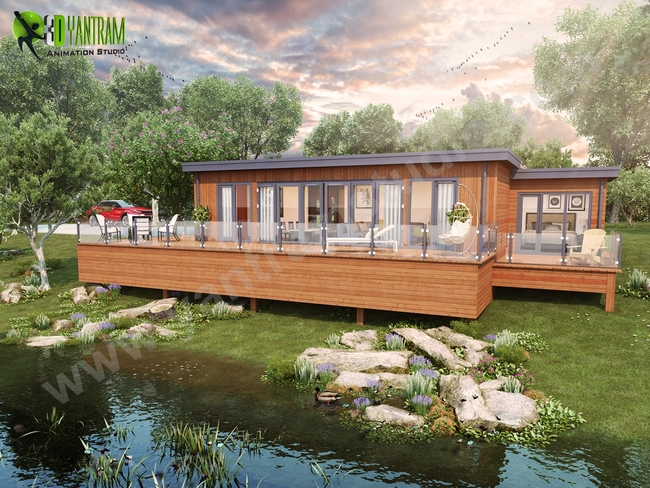 Lodge Exterior Rendering Pond Area Landscape Wooden Plank