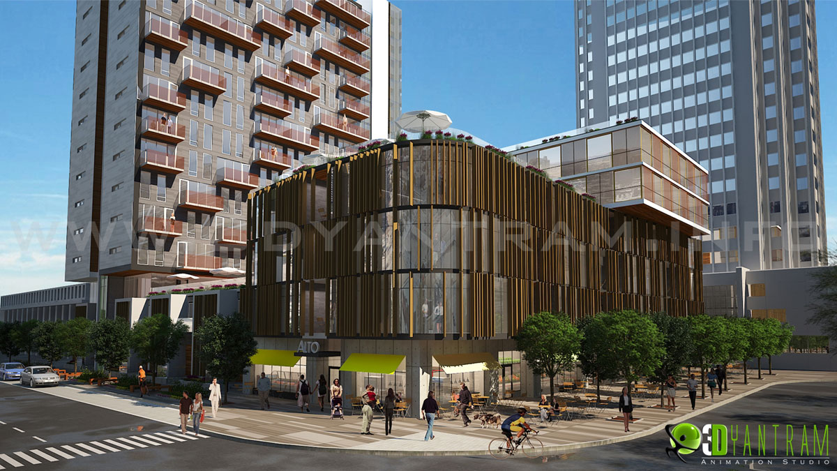 3d architectural commercial exterior rendering for Shopping mall exterior design