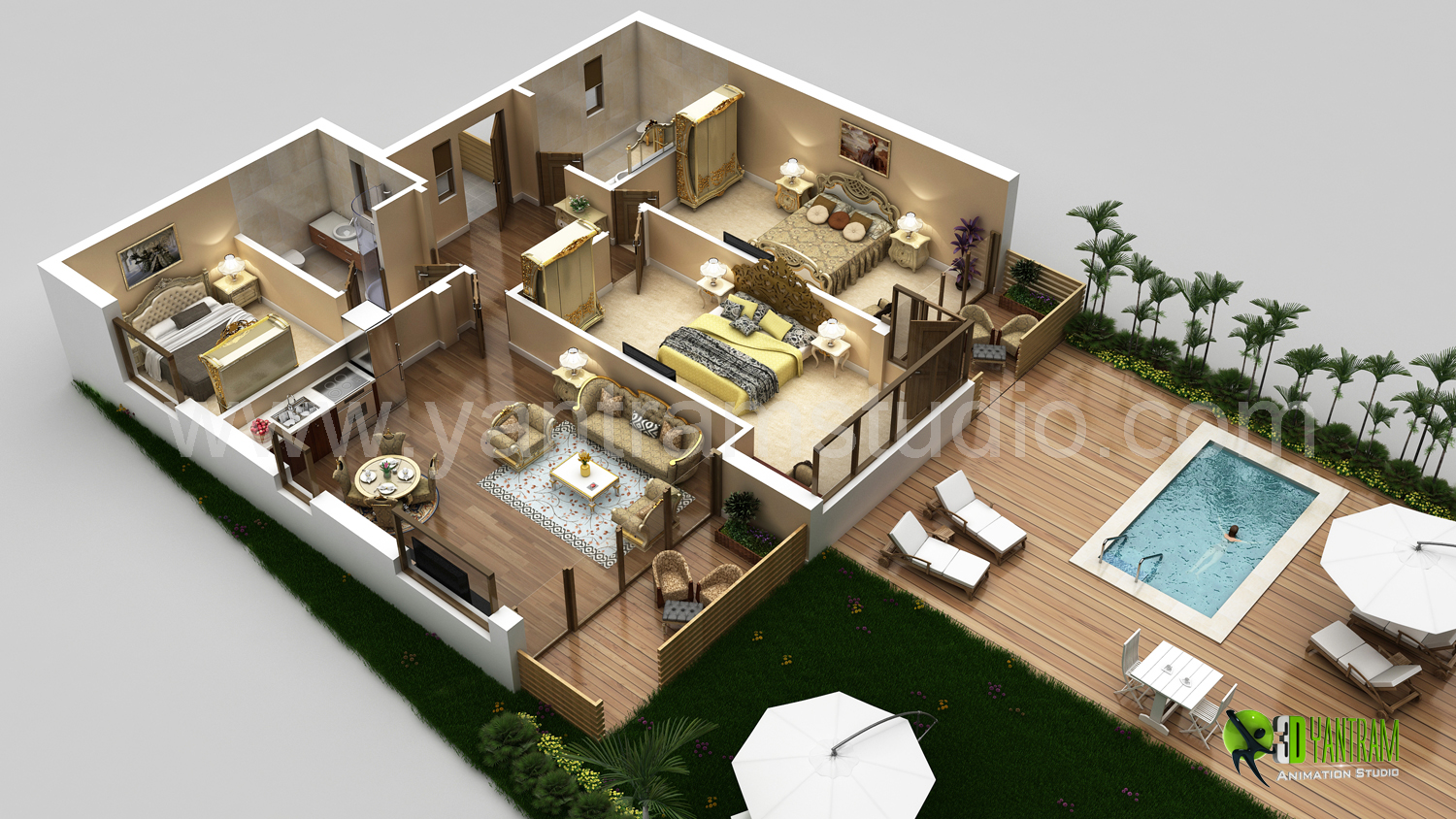 High Quality 3D Luxurious Residential Floor Plan