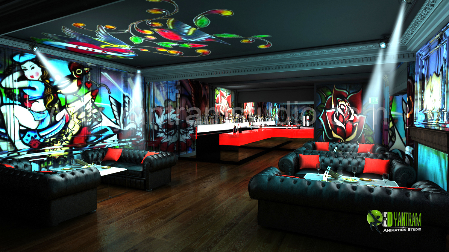 3D Interior Design For Commercial Night View Pub Bar
