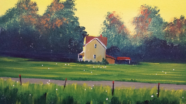 Yellow farm house in summer/SOLD