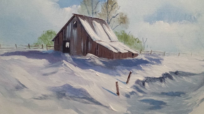 Winter barn with creek bed.