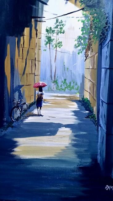 Girl in a walkway.