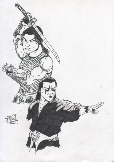 Tenchu characters (black and white sketch)