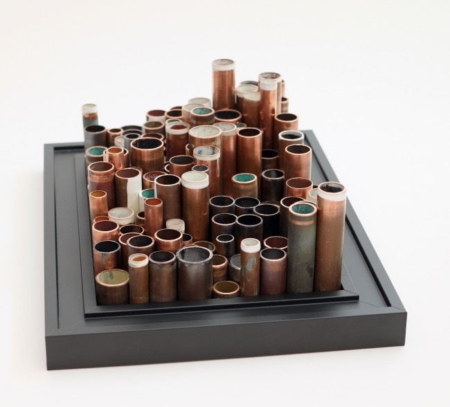 City of Pipes. Framed Copper Pipe Sculpture.