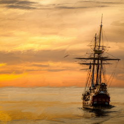 Tall Ship in sunset