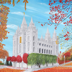 Salt Lake City, Utah Temple in Autumn Acrylic Painting