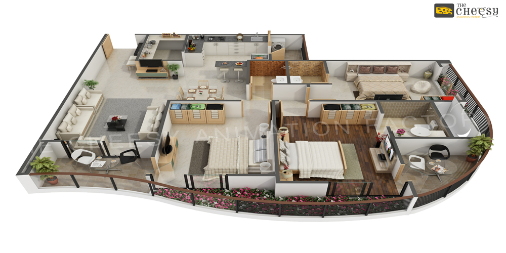 Superbe 3D House Floor Plan