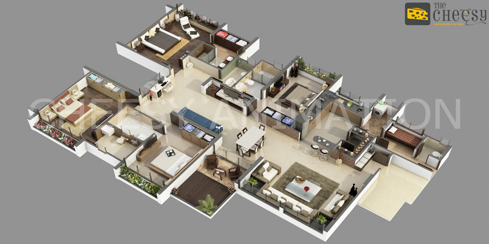 3D Bungalows Floor Plan