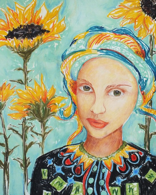 Girl with the Sunflowers