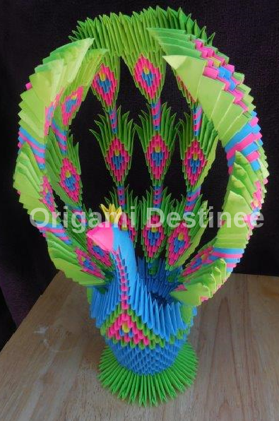 3D Origami Peacock with 19 Tails 1578 Pieces Version 2 - YouTube | 596x395