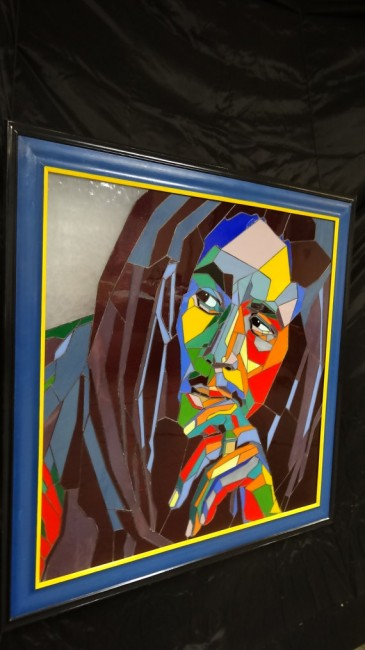 Stained glass portrait of Bob Marley