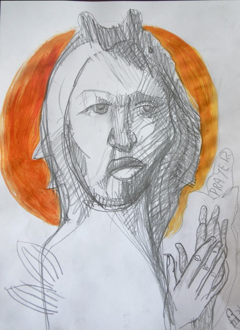 Jesus Prayer Original Art Drawing by Alice Iordache