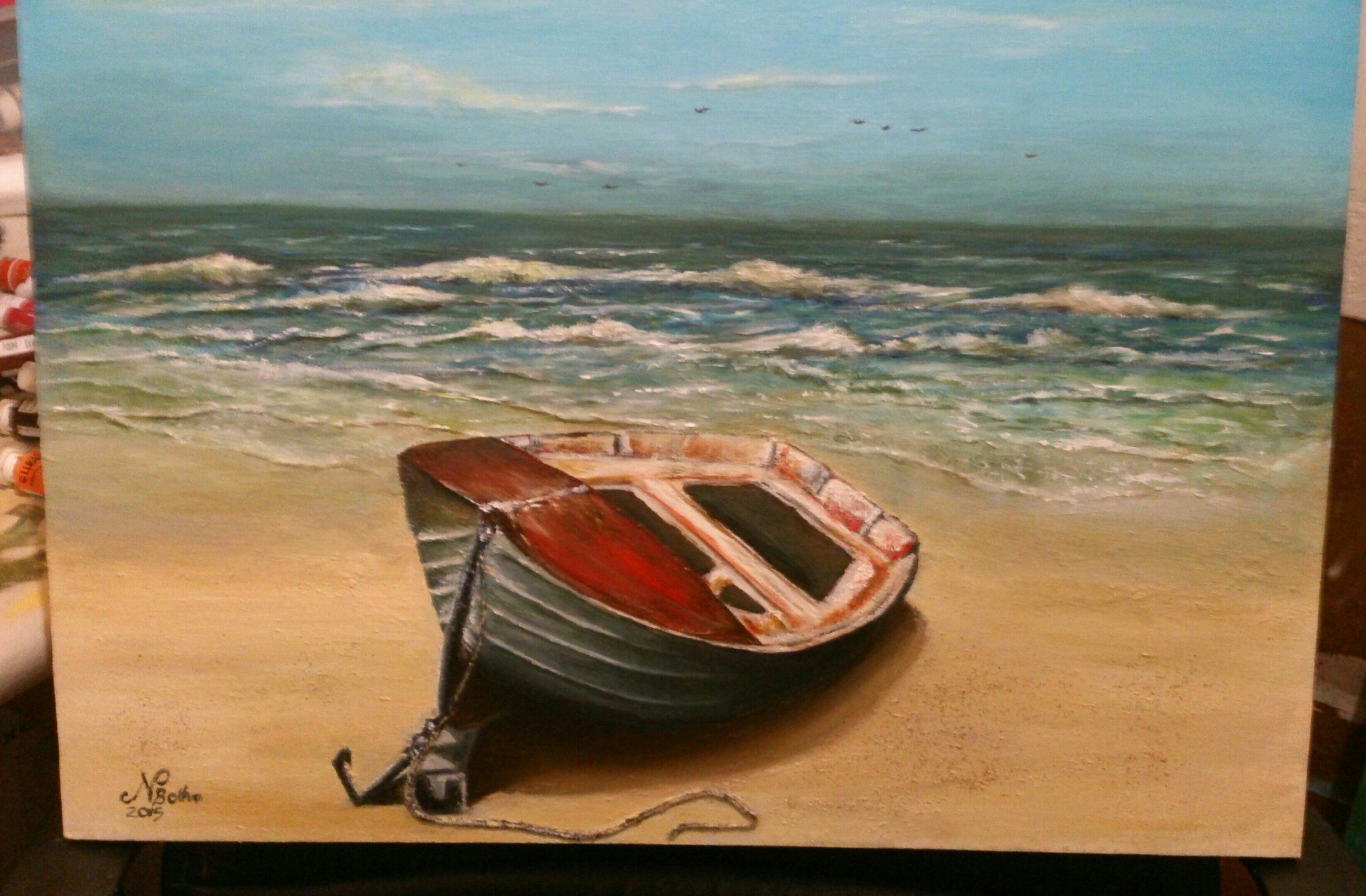 Ideal Row boat on sunny shore | Niklaas-1989 | Foundmyself KZ89