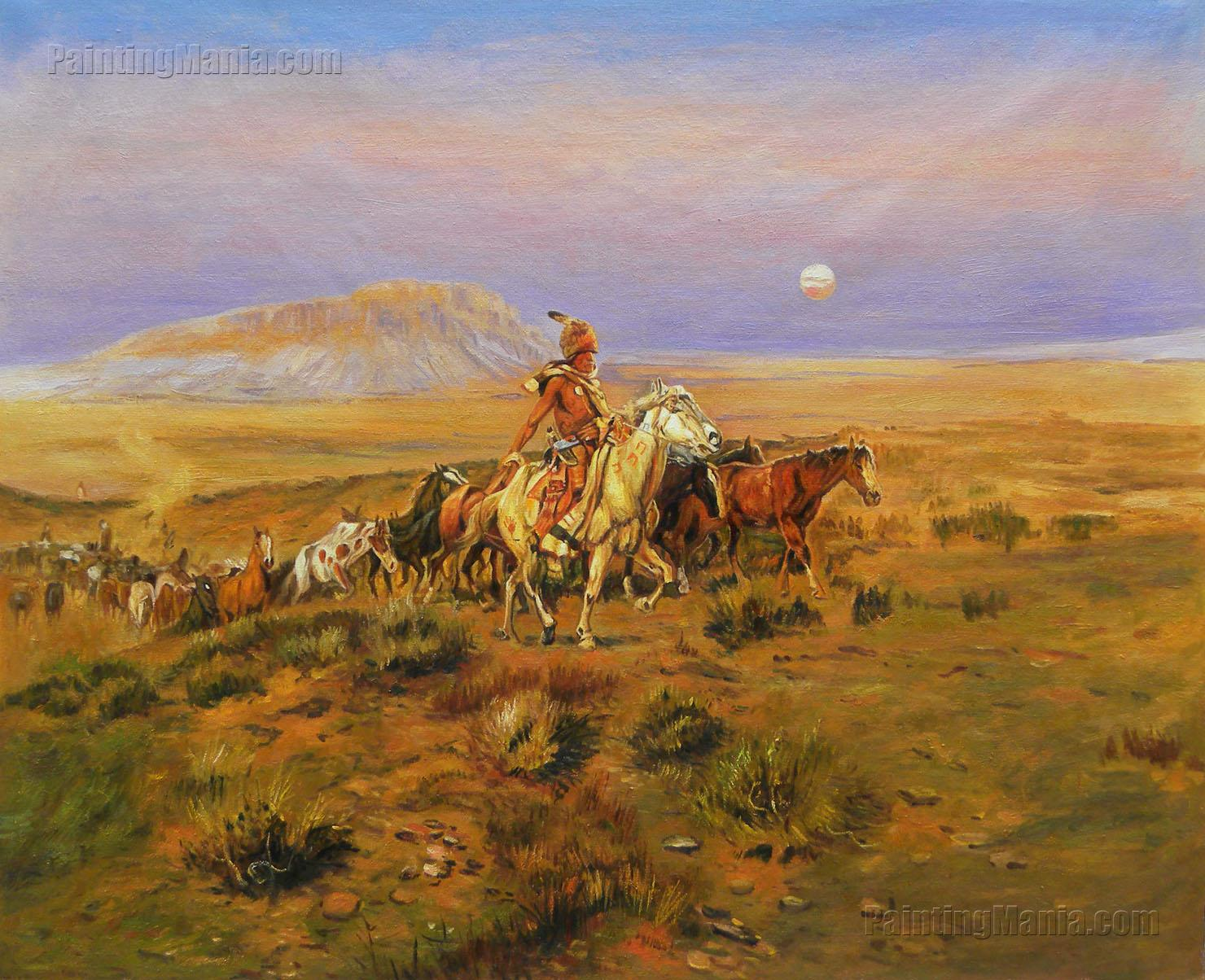 The Horse Thieves - Charles Russell hand-painted painting