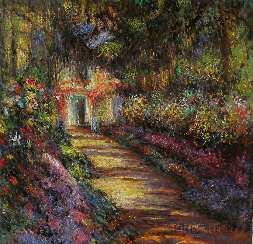 Pathway in Monet\'s Garden at Giverny - Claude Monet painting ...