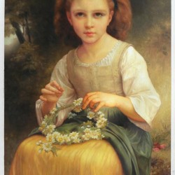 Child Braiding A Crown - William Bouguereau oil painting
