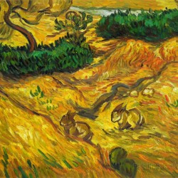 Field with Two Rabbits:Vincent van Gogh oil painting replica