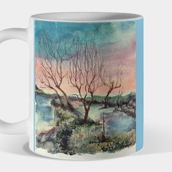cup with a landscape by the river