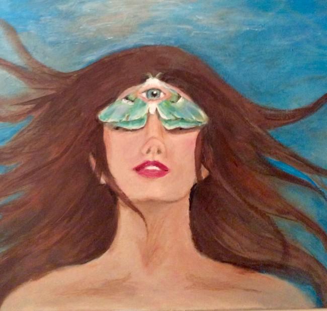 Third eye surreal acrylic woman with moth