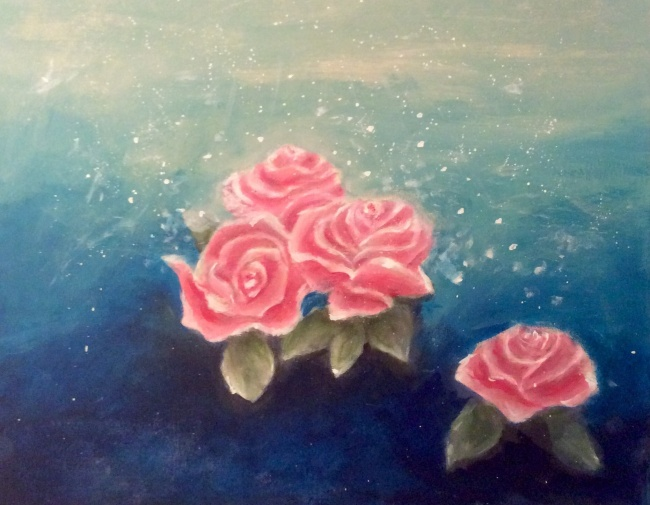 Snowy pink roses acrylic painting