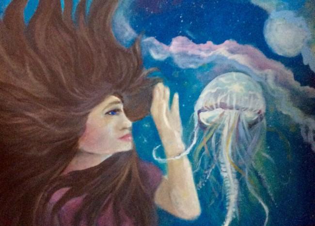 Jellyfish Galaxy Woman Acrylic Painting