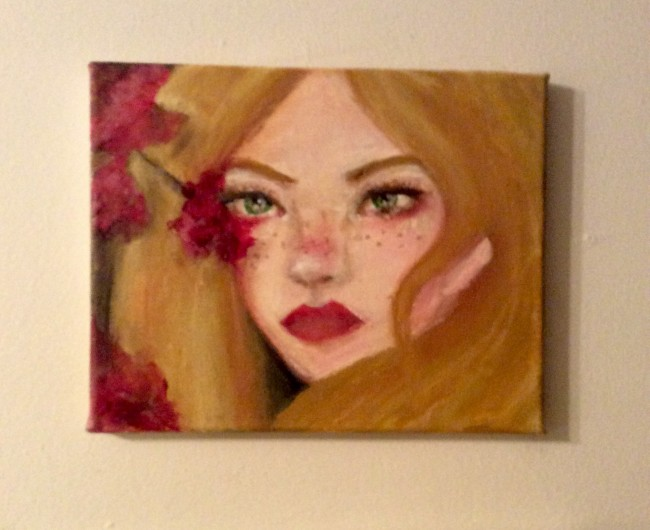 Woman with red flowers acrylic painting