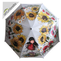 Hand Painted Umbrella with Sunflowers and Poppies