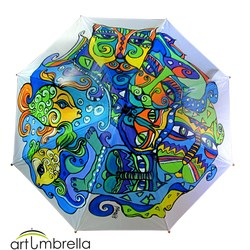 Hand Painted Umbrella • Cats • Animal Illustrations