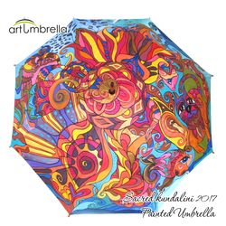 Hand Painted Umbrella • Sacred Kundalini • Golden Sun
