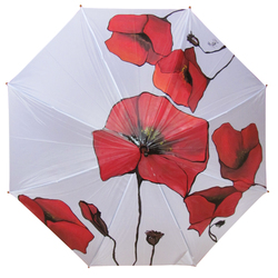 Hand Painted Umbrella with Poppies