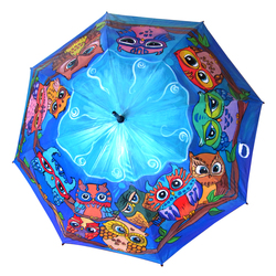 Hand Painted Umbrella in blue color with Owls