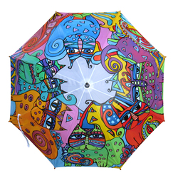 Hand Painted colorfull Umbrella with Abstract Cats