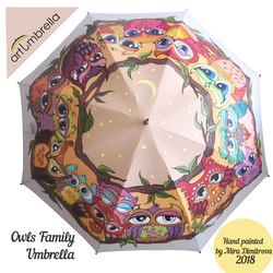 Hand painted Umbrella - Owls Family